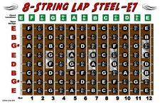 8 String Lap Steel Guitar Fretboard Chart Poster E7 Tuning Notes