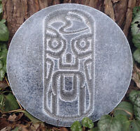 """Tiki plaque plastic mold plaster cement resin casting 7.75"""" x 3/4"""" thick"""