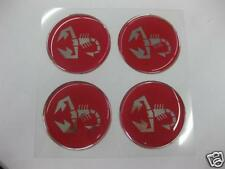 Set of 4 Wheel Center Emblem for Abarth Fiat 500 600 850 49mm RED  -NEW- #465b