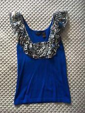 Yuka Paris Silk Ruffle Floral Royal Blue Top Tee Knit Size S Small