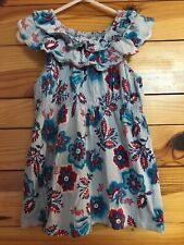 Tea Collection Smocked Dress Girls Blue Floral Print Ruffled Size 4
