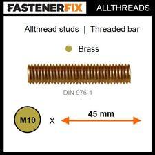 M10 x 45 mm allthread brass studs, threaded bar to DIN 976-1 (25 pack)