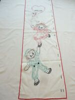 Vintage Doily Table Runner Dresser Scarf Hand Embroidered Children's Grow Chart