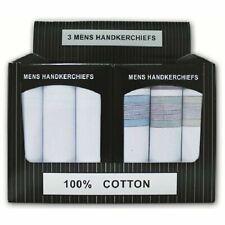 Mens Hankies Gents Large Hankerchiefs 3 Multi Pack PRESENTATION BOX 100% COTTON