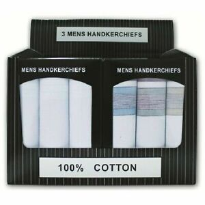 Mens Hankies Gents Large Hankerchiefs 3 Multi Pack PRESENTATION BOX 100% COTTON