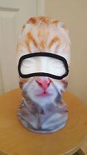 Cat Mask Balaclava Ginger Funny Printed Photo Real Prank Biker Ski Fancy dress