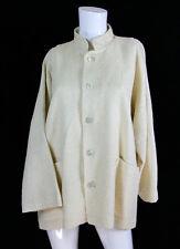 "Eskandar Ivory Silk/Cotton Boucle Mandarin Collar Front Pockets Jacket 50"" Bust"