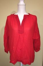 Madewell Shirt Oversized Tunic Embroidered Openview Fire Red Size Small $92