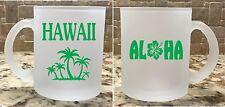 Frosted Glass Coffee Tea Mug Cup 10 oz Aloha Hawaii Tropical Green Great Gift