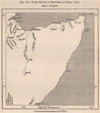 Chief rotte di esploratori in terra somala. Somalia 1885 Old ANTICA MAPPA grafico