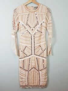 ASOS Womens Size UK/AU 8 or US 4 Sequin Embellished Long Sleeve Dress