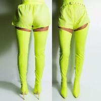 Overknee High Thigh Boots Stretch Belt Stilettos Heel Pointed Women T Stage Show