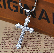 Nice Jesus Cross Leather Chain Pendant Necklace Silver Crystal Cool Men Jewelry