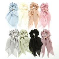 Chiffon Ponytail Scarf Bow Elastic Hair Rope Tie Scrunchies Ribbon Hairtie Bands