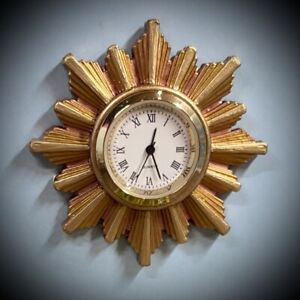 1:16 Dollhouse vintage wall clock sunburst/starburst golden frame - Lundby scale
