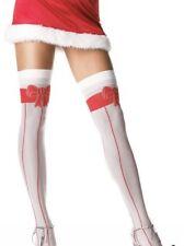 WHITE & FAUX RED RIBBON STRIPED BOW STOCKINGS LOLITA HARAJUKU LEG AVENUE
