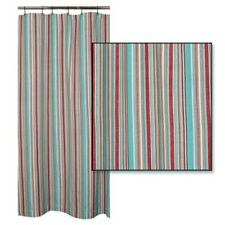 HAMPTON COVE Coastal Stripe Cotton Shower Curtain Turquoise, White, Red, Brown