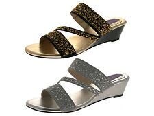 Womens Low Wedge Strappy Studded Jewel Sandals Ladies Summer Mules Shoes Size