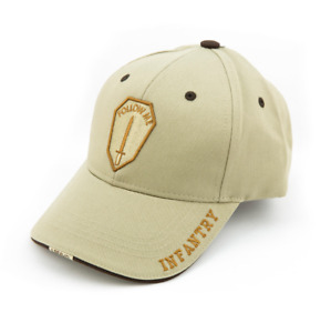 """U.S. Army Infantry """" Follow Me"""" Embroidered Gold thread on Khaki Cap A303-G"""