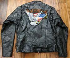 Diamond Plate Black Buffalo Leather Motorcycle Jacket Large Patchwork USA Flag