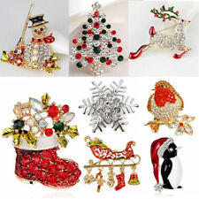 Vintage Christmas Brooch Pin Crystal Rhinestone Enamel Badge Xmas Party Gift