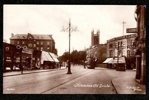 1916 BRISTOL WHITELADIES ROAD WITH TRAM REAL PHOTO POSTCARD