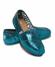 NEW Authentic TOMS Shoes, Emerald Glitter  Women's Slip on Classics,  Size 5
