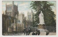 Gloucestershire postcard - Cathedral showing Queens Statue, Bristol - P/U (A63)