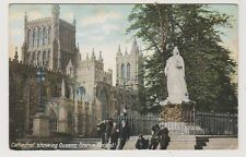Gloucestershire postcard - Cathedral showing Queens Statue, Bristol - P/U 1914