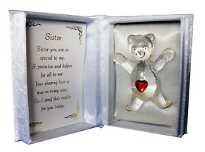 Red Heart Crystal Teddy Bear Cuddle Box With Poem Romantic Gift Box For Sister