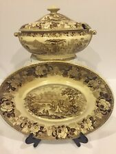 Antique Wedgwood Brown Transferware Scenic Romantic Tureen And Platter