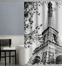 "Paris France Eiffel Tower Black & White Shower Curtain, PEVA,Size:70"" x 72""-NEW"