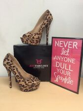 a962922de0 Just Fab (AVELINE ) Women's Leopard Print PeepToe Platform Pumps Heels 7.5M  NIB