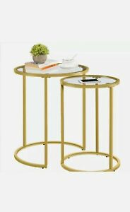 Yaheetech Round Nesting End Table Set Living Room, Office,Gold