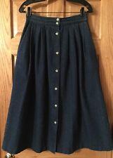 """Women's Vtg Michael Tracy Denim Skirt 28"""" Waist 11/12 Button Front Modest"""