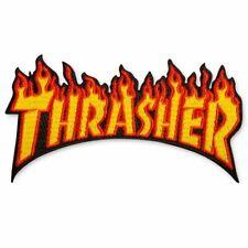 Thrasher Magazine Flame Fire Logo Iron On Patch Skateboard Jacket Hat Black Red