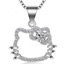 Sterling Silver HELLO KITTY CAT PENDANT NECKLACE Chain Cubic Zirconia GiftBox J8