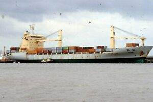 """35mm SLIDE :: MARITIME :  """"FENCHE"""" CONTAINER FREIGHTER & TUG"""