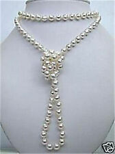 8mm Superb natural white salt water Shell Pearl necklace 48 inchs