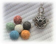 Lovely Essential Oil Aromatherapy Necklace Diffuser with 6 lava stones!