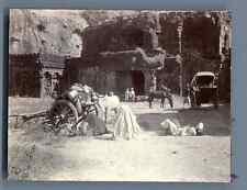 India, Grottes de Ellora  Vintage citrate print. Inde. Ellorâ est un village d