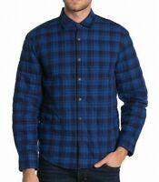 Thomas Dean Mens Blue Size Large L Button Down Plaid Shirt Padded $135 #020