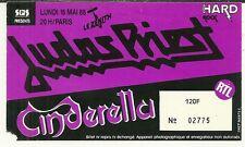 RARE / TICKET DE CONCERT - JUDAS PRIEST / CINDERELLA LIVE A PARIS ( FRANCE) 1988