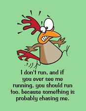 METAL REFRIGERATOR MAGNET Chicken Don't Run You See Me Run Chasing Me Humor