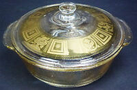 Fire King Georges Briard Glass Gold Fleck Covered Casserole Dish Vtg 50s Midcent