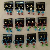 VINTAGE RETRO 80s MULTICOLOR DANGLE HOOP EARRINGS NOS LOT of 12 PAIR FREE S&H BK