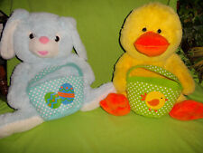 2 Xlg 21 In Easter Bunny & Duck Plush w Baskets Rabbit Egg dan dee hoppy hopster