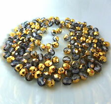 pack of 30 - Czech glass fire polished glass beads faceted grey and gold 5x4