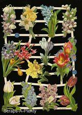 German Embossed Vintage Style Scrap Die Cut - Colorful Springtime Flowers EF7413