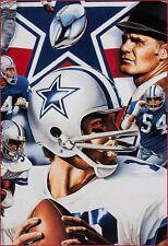 1987 Dallas Cowboys Greats. Roger Staubach, Tom Landry Signed Lithograph REPRINT